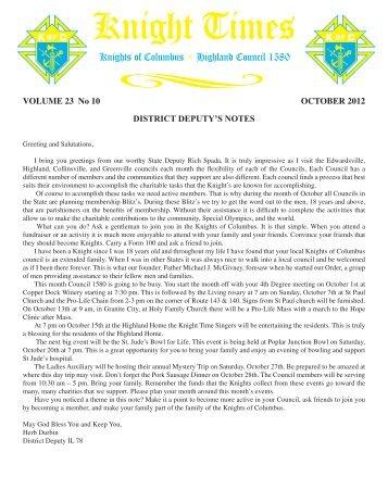 October 2012 Newsletter - Highland Knights of Columbus
