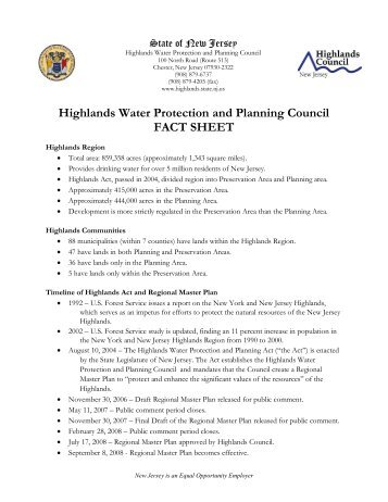 Fact Sheet - New Jersey Highlands Council