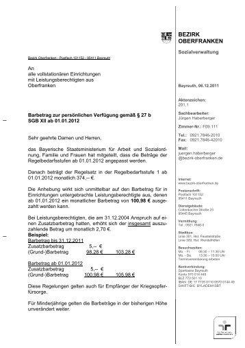 Rundschreiben Barbetrag Dez 2011 - Bezirk Oberfranken