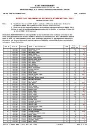 Result of pre-medical entrance examination - 2012 - HIHT University