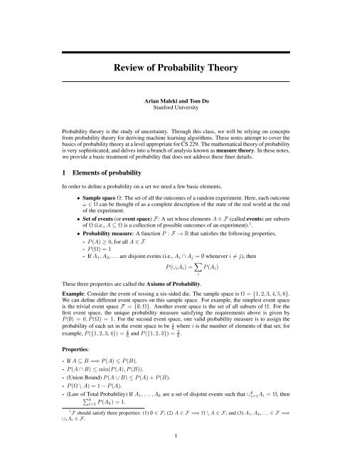 Review of Probability Theory - CS 229 - Stanford University