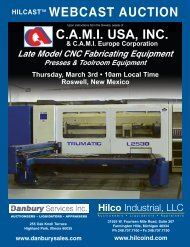 C.A.M.I. USA, INC. WEBCAST AUCTION - Hilco Industrial