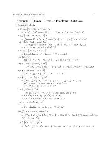 1 Calculus III Exam 1 Practice Problems - Solutions