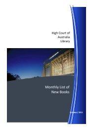 New Books October 2011 - High Court of Australia