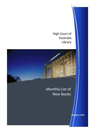 New Books October 2011 - High Court of Australia