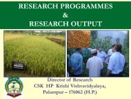 Director's Presentation - CSK Himachal Pradesh Agricultural ...