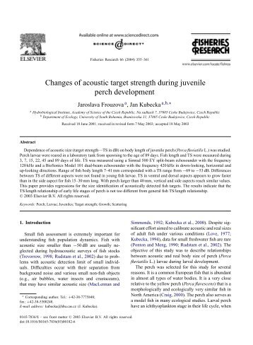 Changes of acoustic target strength during juvenile ... - ResearchGate