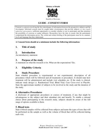 Basic Elements Of Informed Consent Contents Of Consent Form