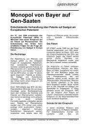 Monopol von Bayer auf Gen-Saaten - Patent auf ... - Greenpeace