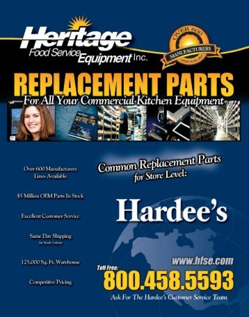 Hardee's Common Replacement Parts For Store Level