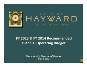 Item #9 Recommended Operating Budget - City of HAYWARD