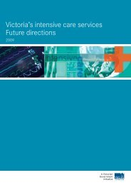 Victoria's intensive care services Future directions - Department of ...