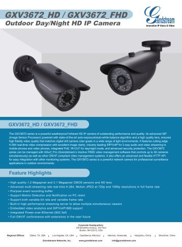 Product brochure / Specifications - Grandstream Networks