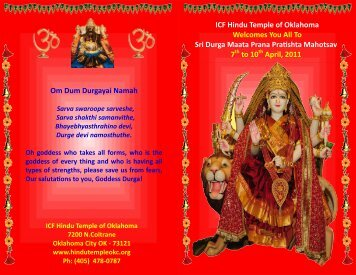 ICF Hindu Temple of Oklahoma Welcomes You All To Sri Durga ...