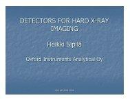 DETECTORS FOR HARD X-RAY IMAGING Heikki Sipilä