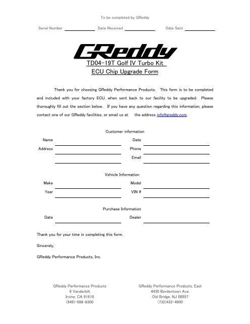 TD04-19T Golf IV Turbo Kit ECU Chip Upgrade Form - GReddy