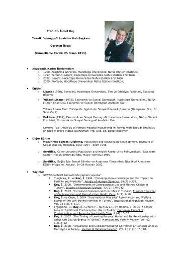 Prof. Dr. İsmet Koç - Hacettepe Üniversitesi Nüfus Etütleri Enstitüsü