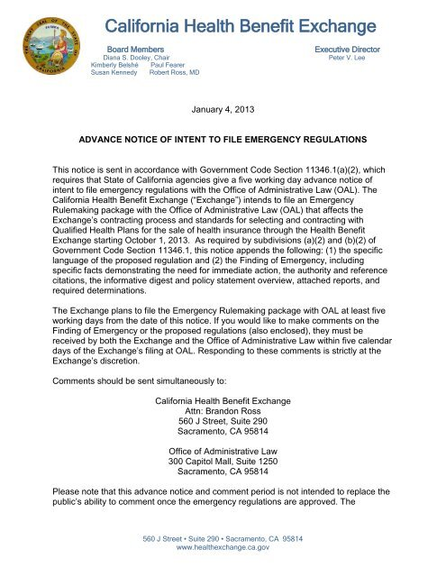 advance notice of intent to file emergency regulations