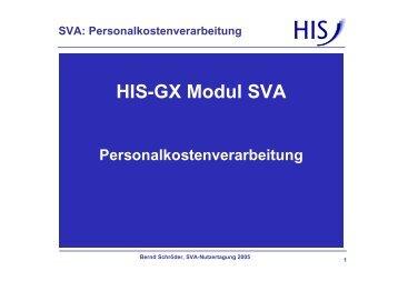 HIS-GX Modul SVA - Personalkostenverarbeitung