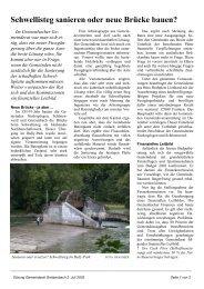 Schwellisteg sanieren oder neue Brücke bauen? - Gemeinde ...