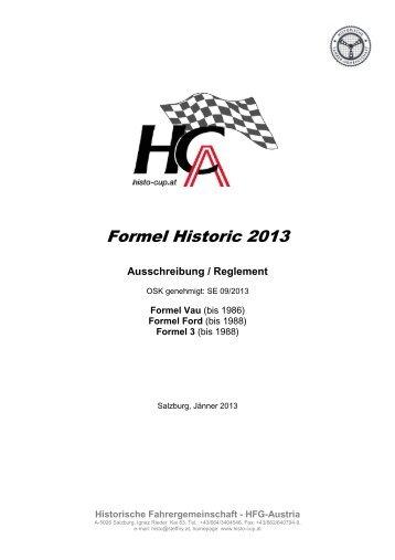 Formel Historic 2013-Ausschreibung und ... - Histo-Cup Austria