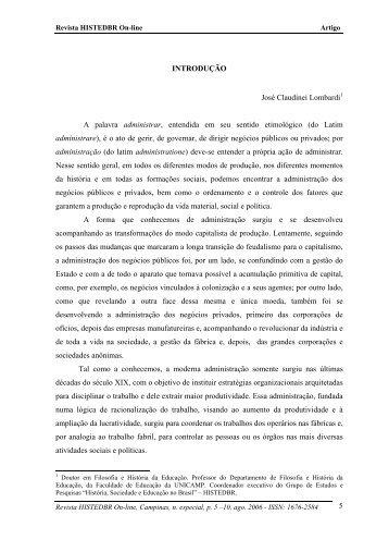 introdução - histedbr - Unicamp