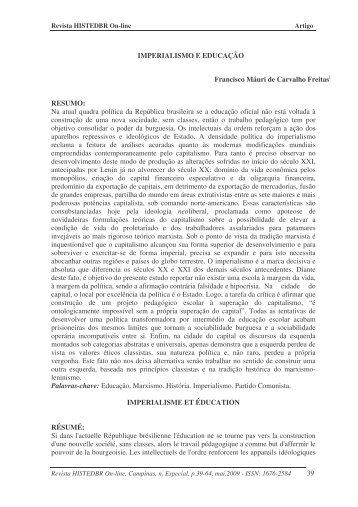 39 IMPERIALISMO E EDUCAÇÃO Francisco Máuri de ... - histedbr