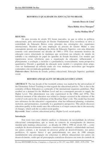 reforma e qualidade da educação no brasil - histedbr - Unicamp