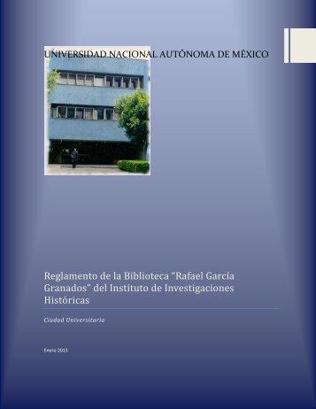 """Reglamento de la Biblioteca """"Rafael García Granados"""" del Instituto ..."""