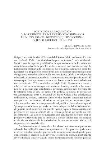 LOS INDIOS, LA INQUISICIÓN Y LOS TRIBUNALES ECLESIáSTICOS