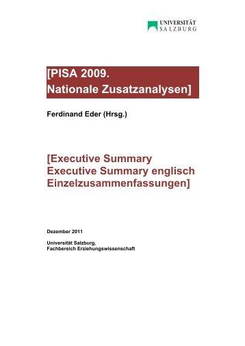 Tagung PISA 2009 Zusatzanalysen Summaries - Bifie