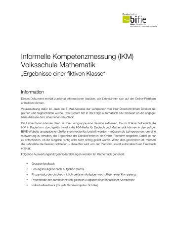 Informelle Kompetenzmessung (IKM) Volksschule Mathematik - Bifie