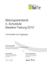 Baseline Fragebogen 4. Schulstufe - Bifie