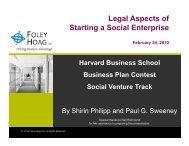 Legal Aspects of Starting a Social Enterprise - Harvard Business ...