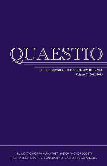 Quaestio (Undergraduate Journal) - UCLA's History Department