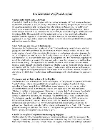 Life At Jamestown Essay  Jamestown Settlement Key Jamestown People And Events  Jamestown Settlement
