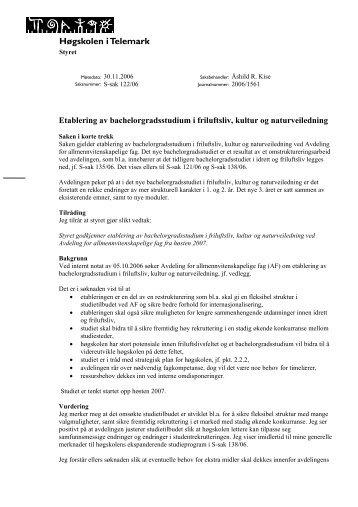 Etablering av bachelorgradsstudium i friluftsliv, kultur og ...