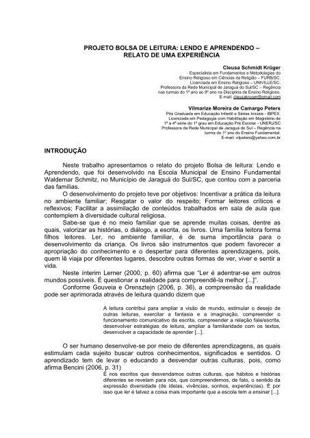 daf4d4351 PROJETO BOLSA DE LEITURA: LENDO E APRENDENDO - GPER