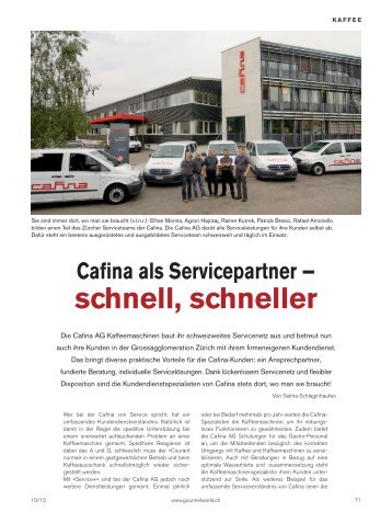 Das Servicekonzept der Kaffeemaschinenanbieterin Cafina AG