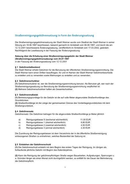 Straßenreinigungsgebührensatzung in Form der Änderungssatzung