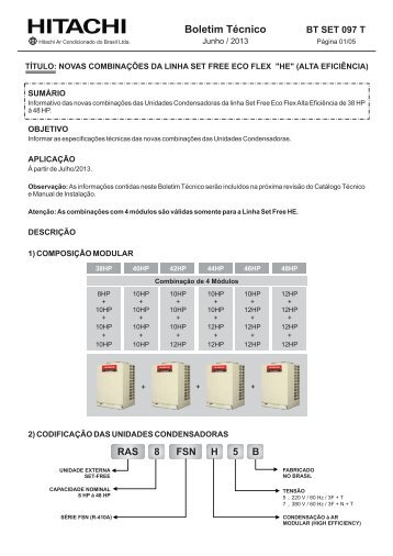 Boletim Técnico - Hitachi Ar Condicionado do Brasil