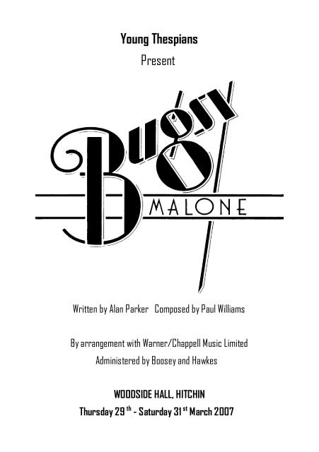 Bugsy Programme (Read-Only) - Hitchin Thespians