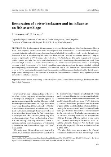 Restoration of a river backwater and its influence on fish assemblage