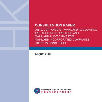 Consultation Paper - Hong Kong Exchanges and Clearing Limited