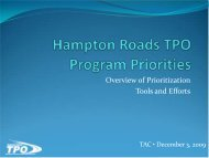 Hampton Roads TPO Program Priorities