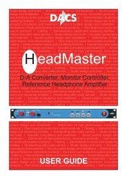 090906 HeadMaster User Manual.cdr - HHb