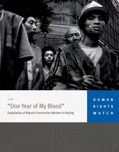 """Human Rights Watch """"One Year of My Blood"""". - Cetri"""