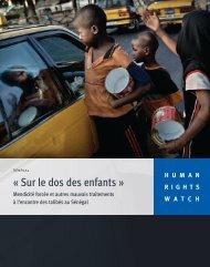 Télécharger le résumé et les recommandations - Human Rights Watch