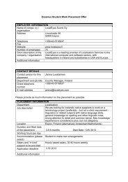 Erasmus Student Work Placement Offer EMPLOYER INFORMATION ...