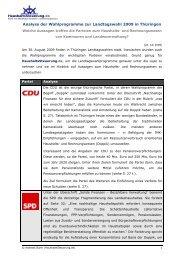 Analyse der Wahlprogramme zur Landtagswahl 2009 in Thüringen